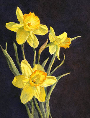 Poster featuring the painting Yellow Daffs by Vikki Bouffard