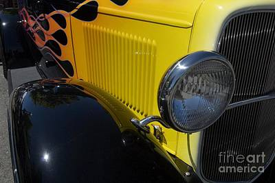 Yellow Flame Vintage Car Poster