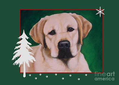 Yellow Labrador Portrait Christmas Poster