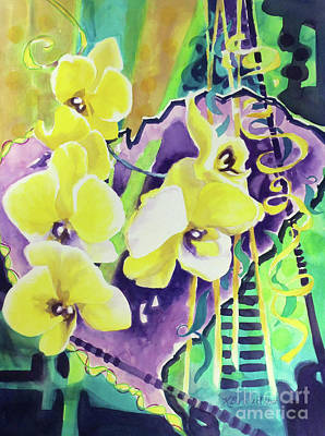 Yellow Orchids Of The Heart Poster by Kathy Braud