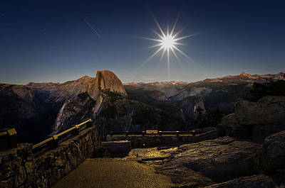 Yosemite National Park Half Dome Full Moon Poster by Scott McGuire