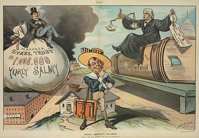 Young Americas Dilemmma. Cartoon Poster by Everett