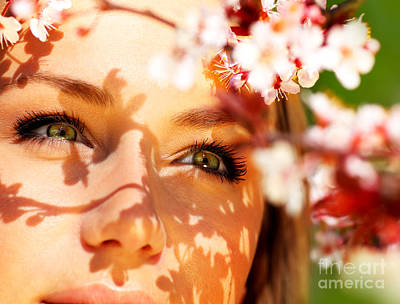 Young Female Face With Flowers Poster by Anna Om