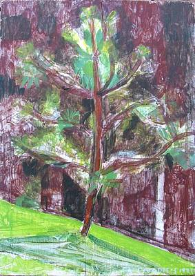 Poster featuring the painting Young Pine Tree by Anita Dale Livaditis