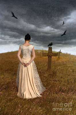 Young Woman Grieving By Grave Poster by Jill Battaglia