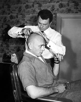 Yul Brynner Getting Shaved By Makeup Poster by Everett