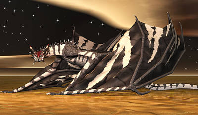 Poster featuring the digital art Zebra Dragon by Walter Colvin