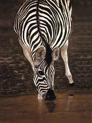 Poster featuring the painting Zebra by Karen Zuk Rosenblatt