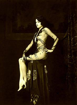 Ziegfeld Girl Jean Ackerman In Black Translucent Lace Gown Poster by Rosie Mills