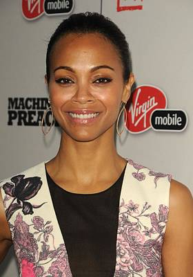 Zoe Saldana At Arrivals For Machine Gun Poster by Everett