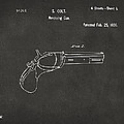 1836 First Colt Revolver Patent Artwork - Gray Poster