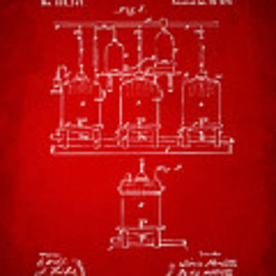 1873 Brewing Beer And Ale Patent Artwork - Red Poster