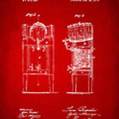 1876 Beer Keg Cooler Patent Artwork Red Poster