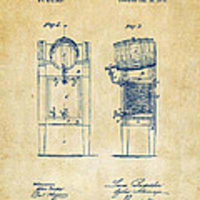 1876 Beer Keg Cooler Patent Artwork - Vintage Poster