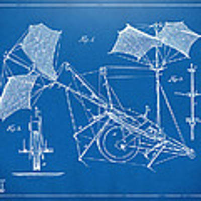 1879 Quinby Aerial Ship Patent Minimal - Blueprint Poster