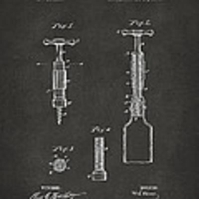 1884 Corkscrew Patent Artwork - Gray Poster