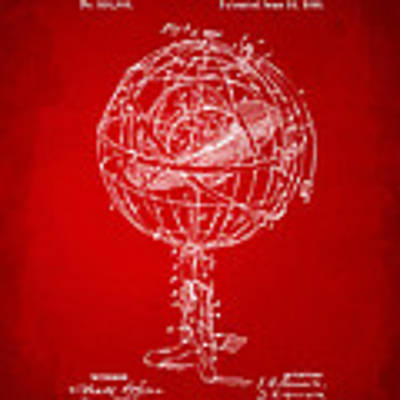 1885 Terrestro Sidereal Sphere Patent Artwork - Red Poster