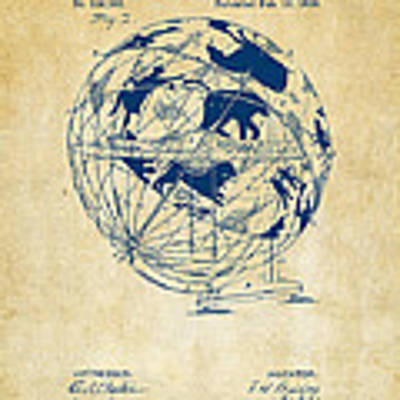 1886 Terrestro Sidereal Globe Patent Artwork - Vintage Poster by Nikki Marie Smith