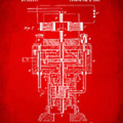 1894 Tesla Electric Generator Patent Red Poster by Nikki Marie Smith
