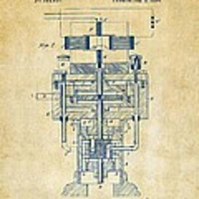1894 Tesla Electric Generator Patent Vintage Poster by Nikki Marie Smith