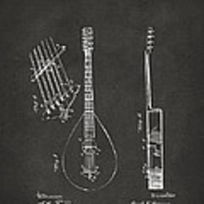 1896 Brown Guitar Patent Artwork - Gray Poster