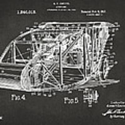 1917 Glenn Curtiss Aeroplane Patent Artwork 3 - Gray Poster