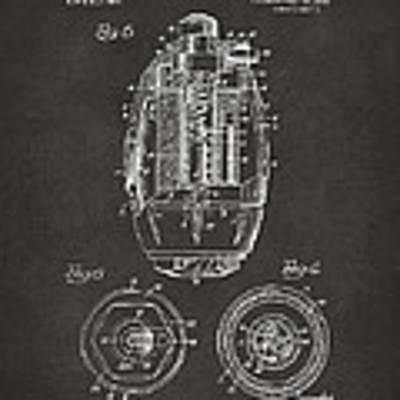 1919 Hand Grenade Patent Artwork - Gray Poster