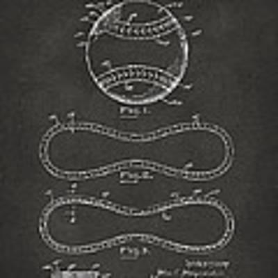 1928 Baseball Patent Artwork - Gray Poster