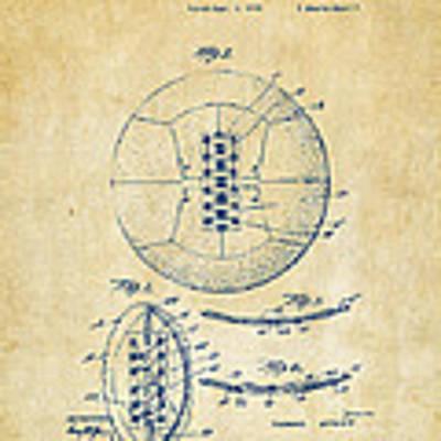 1928 Soccer Ball Lacing Patent Artwork - Vintage Poster
