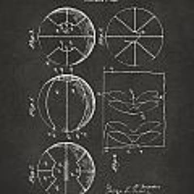 1929 Basketball Patent Artwork - Gray Poster