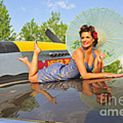 1940s Style Pin-up Girl With Parasol Poster by Christian Kieffer