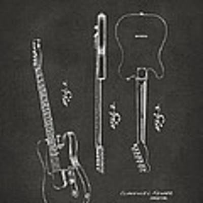 1951 Fender Electric Guitar Patent Artwork - Gray Poster
