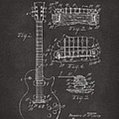 1955 Mccarty Gibson Les Paul Guitar Patent Artwork - Gray Poster by Nikki Marie Smith