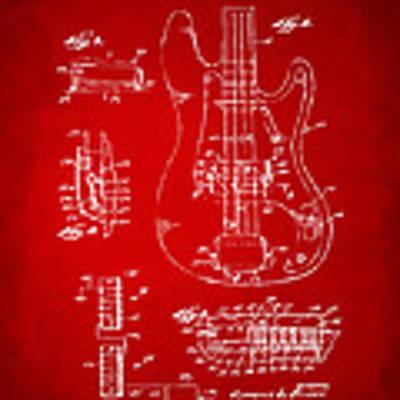 1961 Fender Guitar Patent Artwork - Red Poster