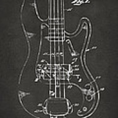 1961 Fender Guitar Patent Minimal - Gray Poster by Nikki Marie Smith