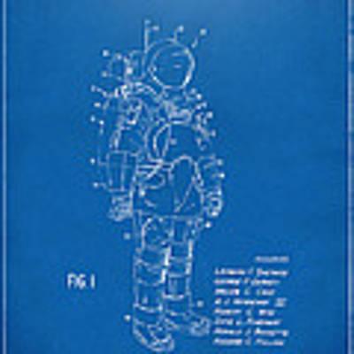 1973 Space Suit Patent Inventors Artwork - Blueprint Poster