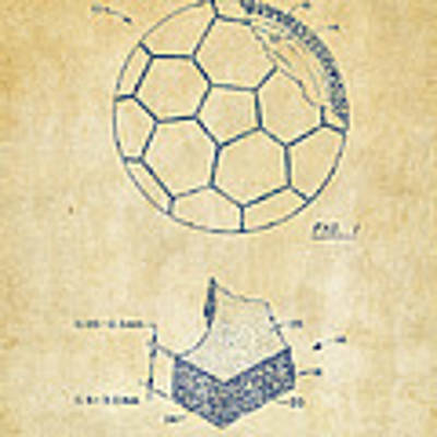 1996 Soccerball Patent Artwork - Vintage Poster