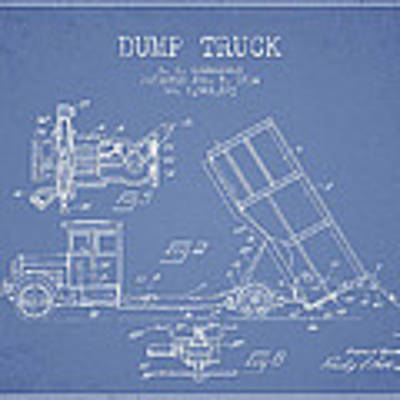 Dump Truck Patent Drawing From 1934 Poster