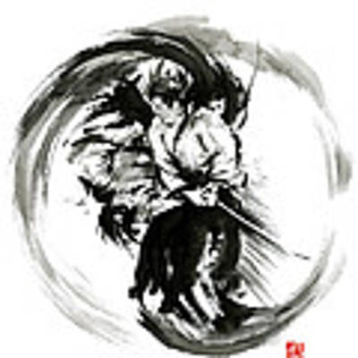 Aikido Techniques Martial Arts Sumi-e Black White Round Circle Design Yin Yang Ink Painting Watercol Poster