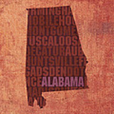 Alabama Word Art State Map On Canvas Poster by Design Turnpike