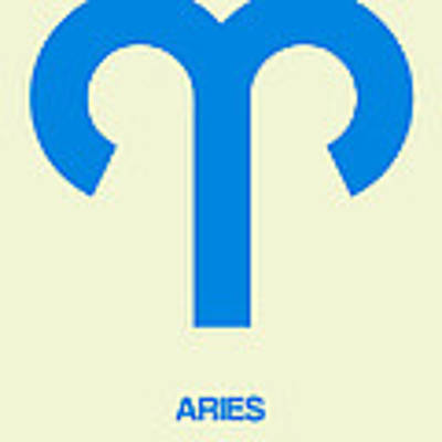 Aries Zodiac Sign Blue Poster