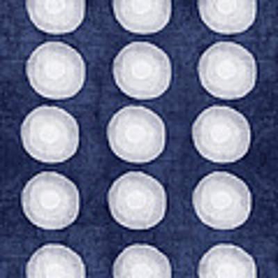 Blue And White Shibori Balls Poster by Linda Woods