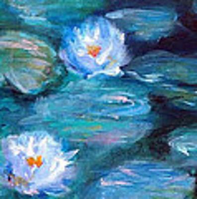 Blue Water Lilies Poster by Lauren Heller
