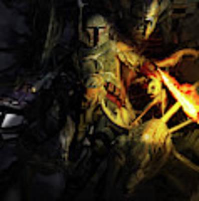 Boba Fett Fighting Off Aliens Poster by Kurt Miller