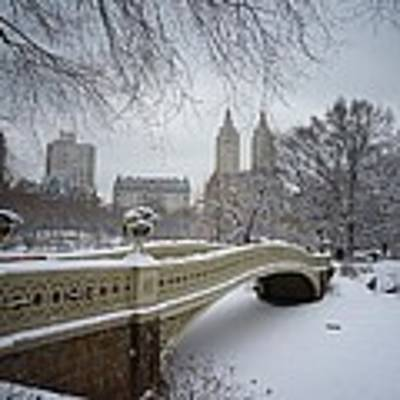Bow Bridge Central Park In Winter  Poster by Vivienne Gucwa