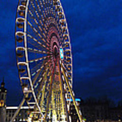 Bright Night Ferris Wheel Poster by Stwayne Keubrick