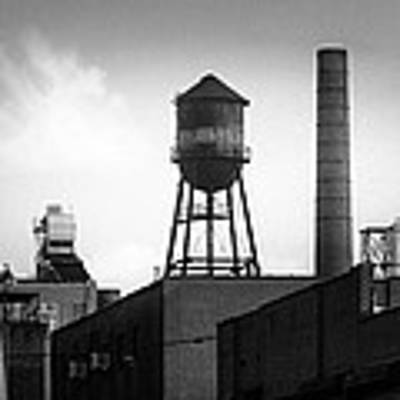 Brooklyn Water Tower And Smokestack - Black And White Industrial Chic Poster by Gary Heller