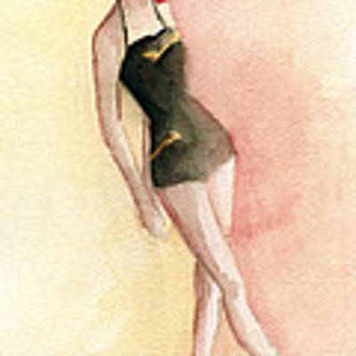 Brown Vintage Bathing Suit 2 Fashion Illustration Art Print Poster by Beverly Brown