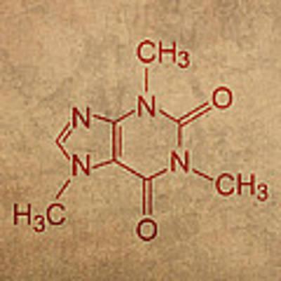 Caffeine Molecule Coffee Fanatic Humor Art Poster Poster by Design Turnpike