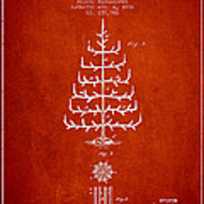 Christmas Tree Patent From 1882 - Red Poster